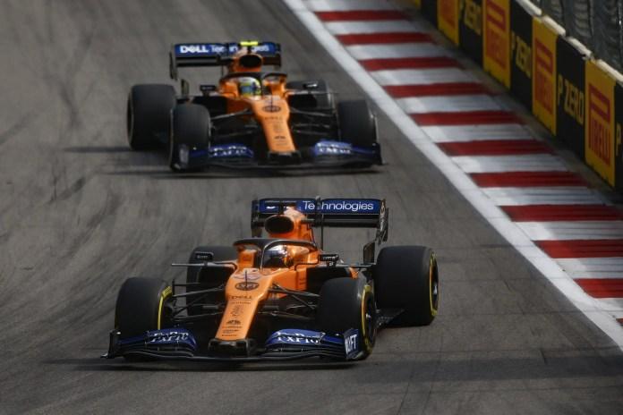 2019 Russian Grand Prix - Carlos Sainz, McLaren MCL34, leads Lando Norris, McLaren MCL34 (image courtesy McLaren)