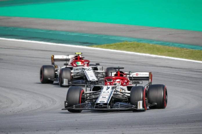 2019 Brazilian Grand Prix, Sunday - Kimi Raikkonen leads home teammate Antonio Giovinazzi (image courtesy Alfa Romeo)