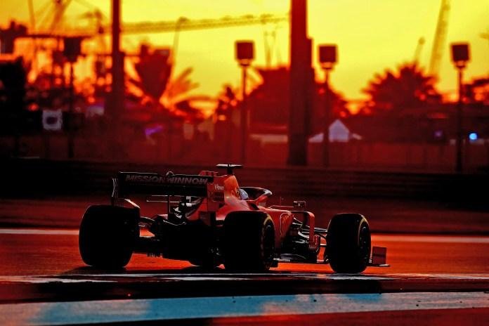 2019 Abu Dhabi Grand Prix, Friday - Sebastian Vettel drives into the setting sun (image courtesy Scuderia Ferrari Press Office)