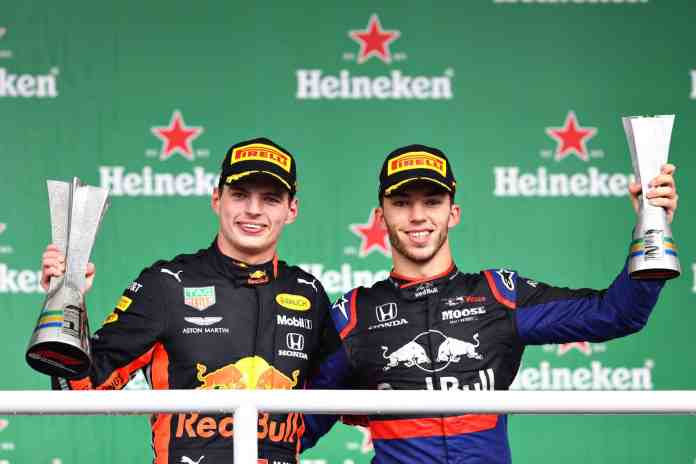 2019 Brazilian Grand Prix, Sunday - Max Verstappen and Pierre Gasly on the podium (image courtesy Red Bull Racing)