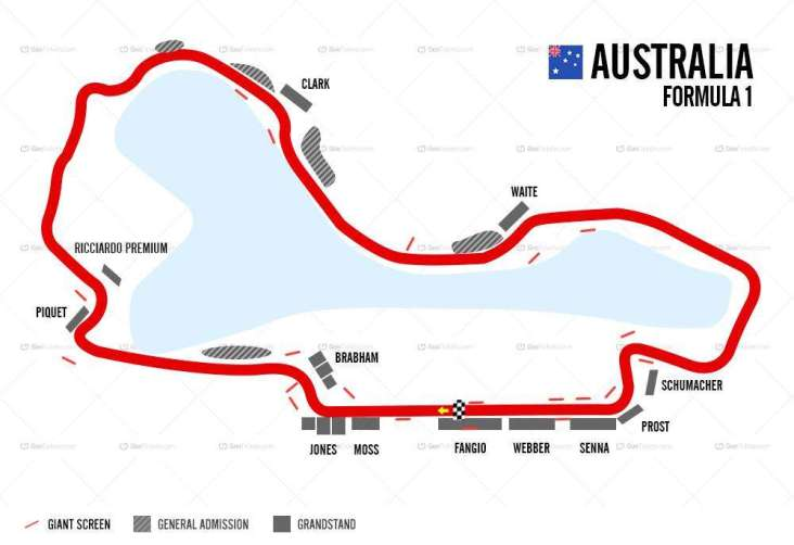 Image result for melbourne grand prix circuit map 2019