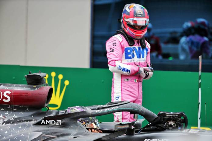 Sergio Perez (MEX) Racing Point F1 Team in parc ferme with Lewis Hamilton (GBR) Mercedes AMG F1 W11.