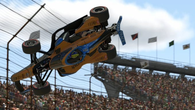 Il contatto tra Norris Pagenaud in Indycar iracing