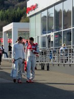 Audi LMP1 drivers in the Paddock on Qualifying day.
