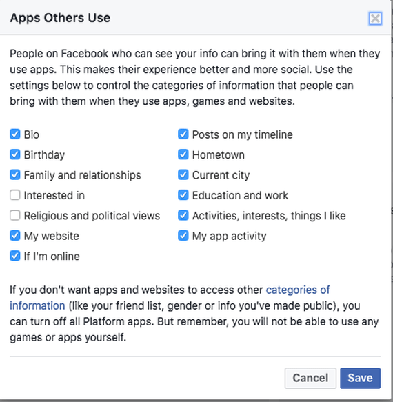 A screenshot of Facebook privacy settings, showing the default information third-party apps can access through your friends.