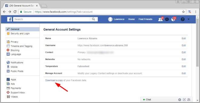 Open Facebook Menu