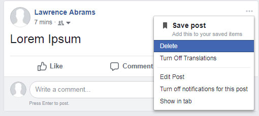 Manually Deleting a Facebook Post