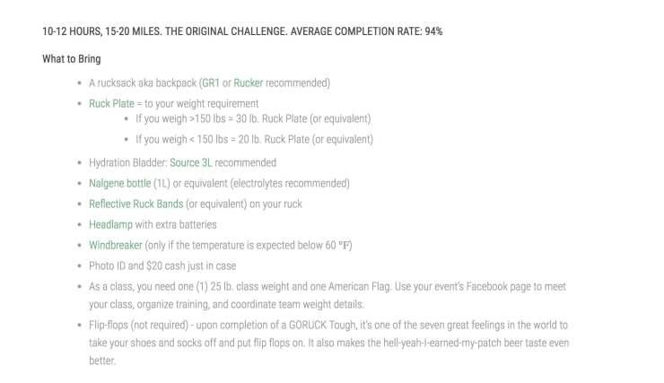 GORUCK Packing List (1)