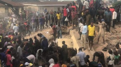 Image result for 'Many trapped' as building collapses in Jos