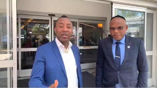 Image result for Sowore, Nnamdi Kanu meet in US, discuss 'how to fight Nigerian oppressors'