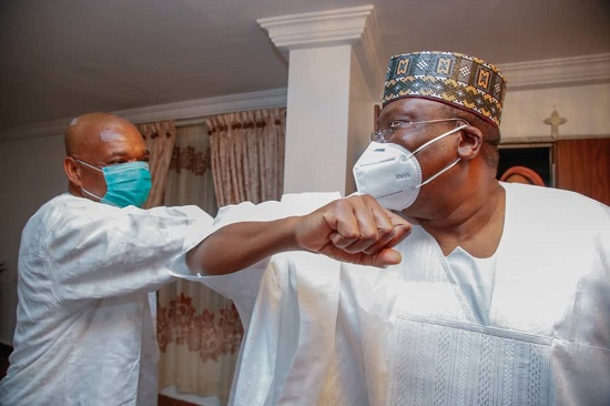 PHOTOS: Lawan leads senators to Orji Kalu's residence