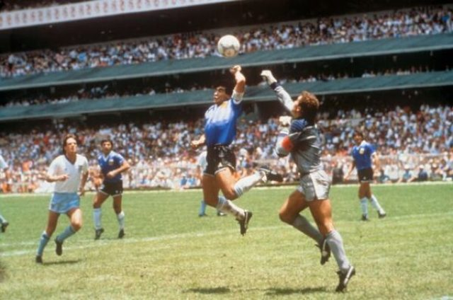 Even at 5ft 5in, Maradona managed to rise above Peter Shilton for his 'Hand of God' goal/ Credit: PA:Press Association