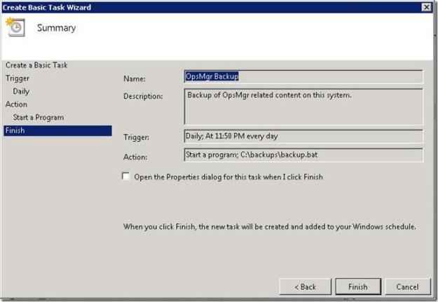 Scheduling OpsMgr Backup in Server 2008 - 09