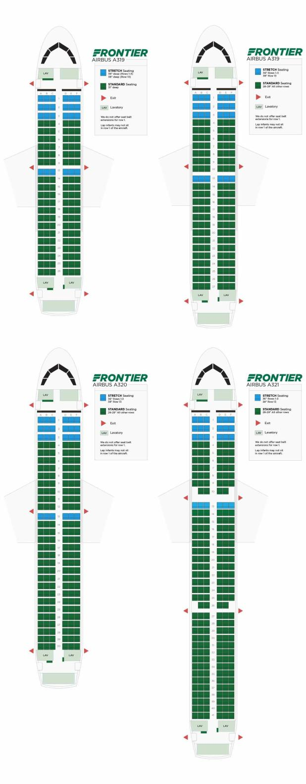 Aircraft Seats: Frontier Airlines Seating Chart Airbus A320