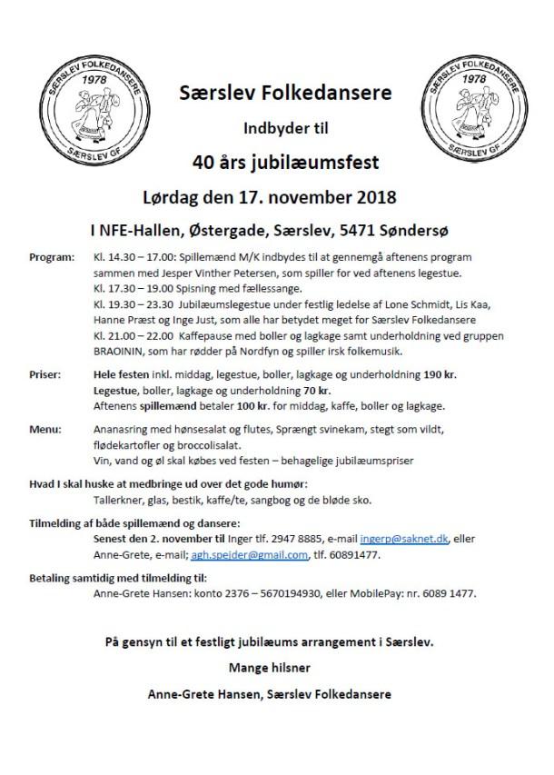 Særslev Folkedansere - 40 års jubilæumsfest