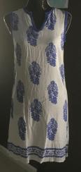 Blue & white emb dress