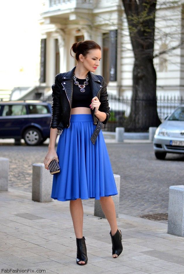 Royal Blue Midi Skirt - Skirts