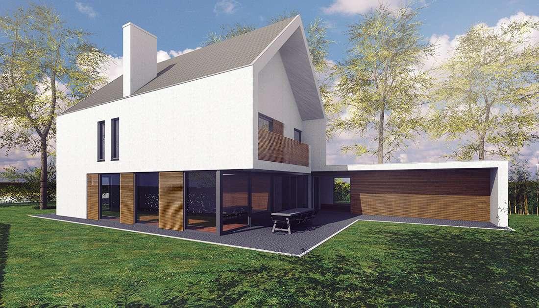 zijkant moderne villa