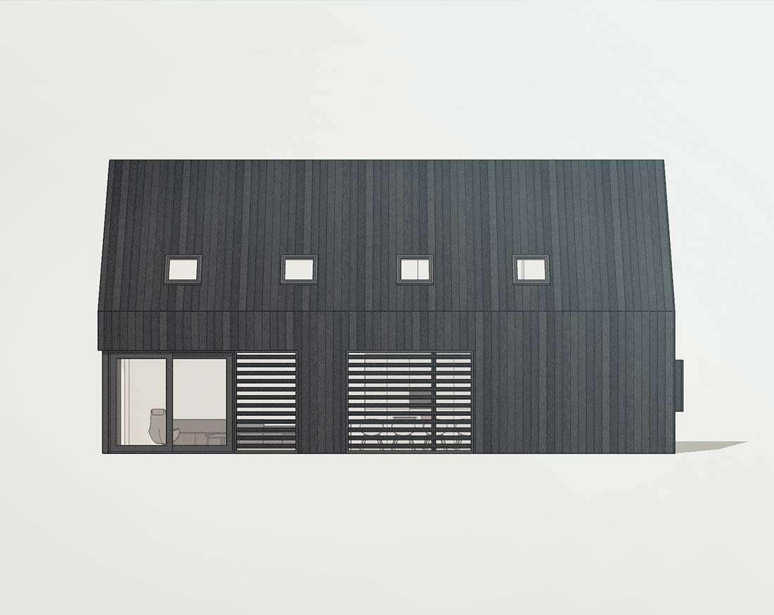 Moderne zwarte schuurwoning