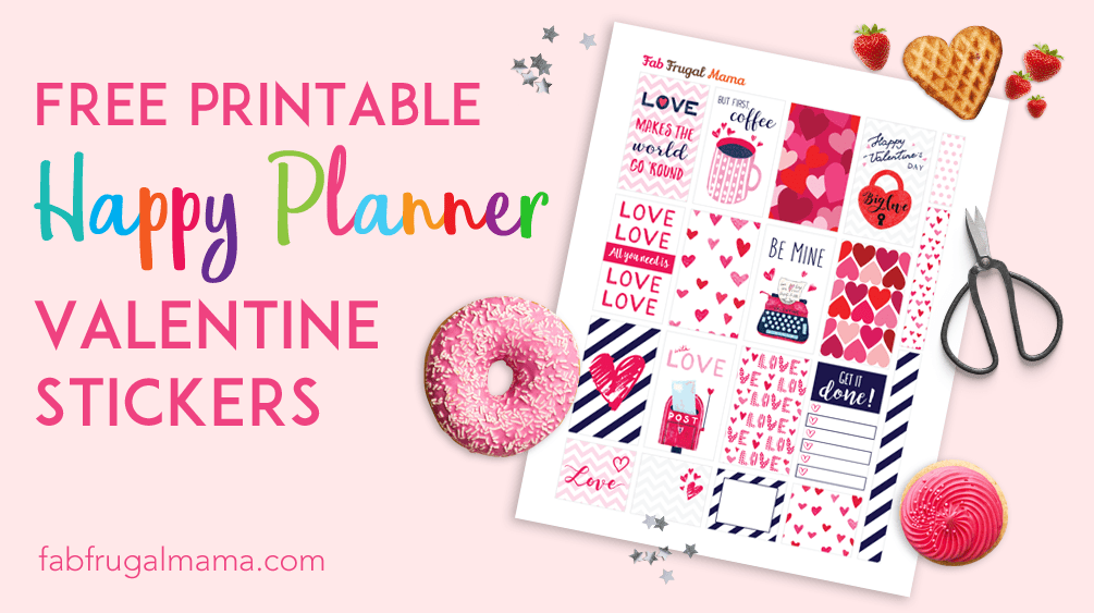 picture about Valentine Stickers Printable known as Free of charge Printable Pleased Planner Valentine Stickers - Fab Frugal