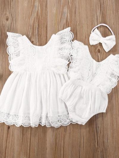 Lace Design Elegant Siblings Matching Dress