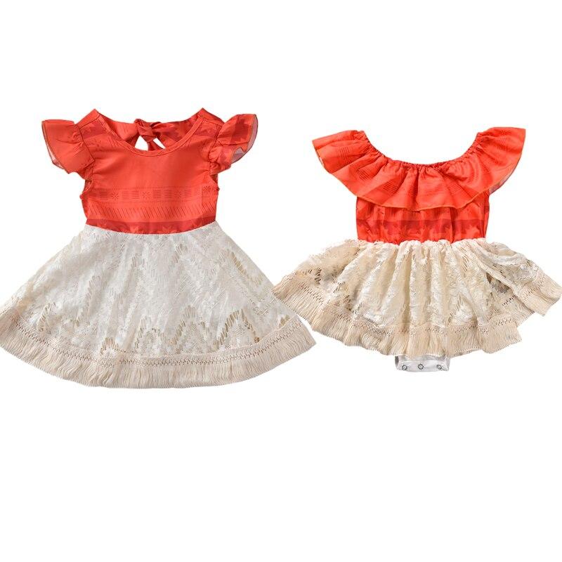 Lace Designer White Orange Family Look Siblings Dress