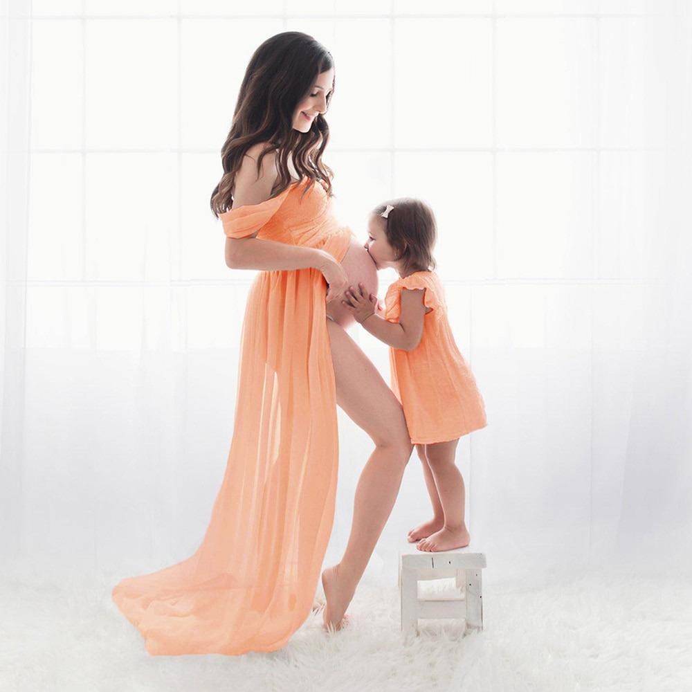 Photo Shoot Special White Front Split Maxi Maternity Dress