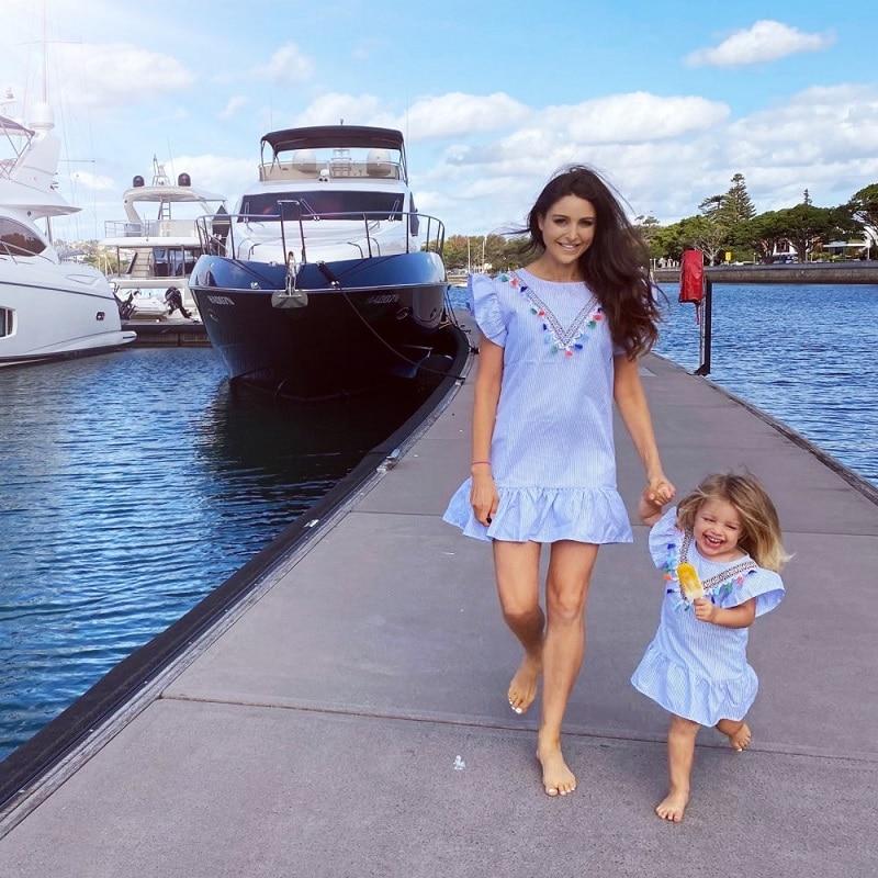 Blue Striped Mommy n Me Dress