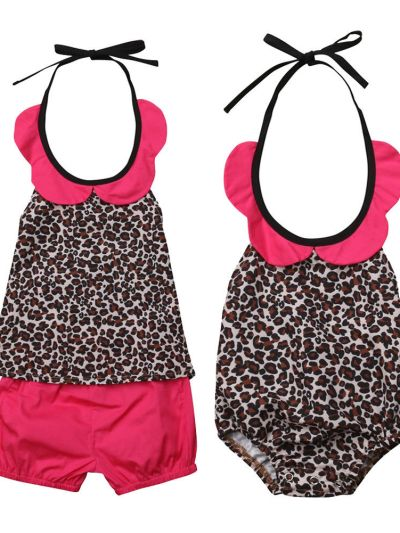 Flower Collar Leopard Strap Romper Dress