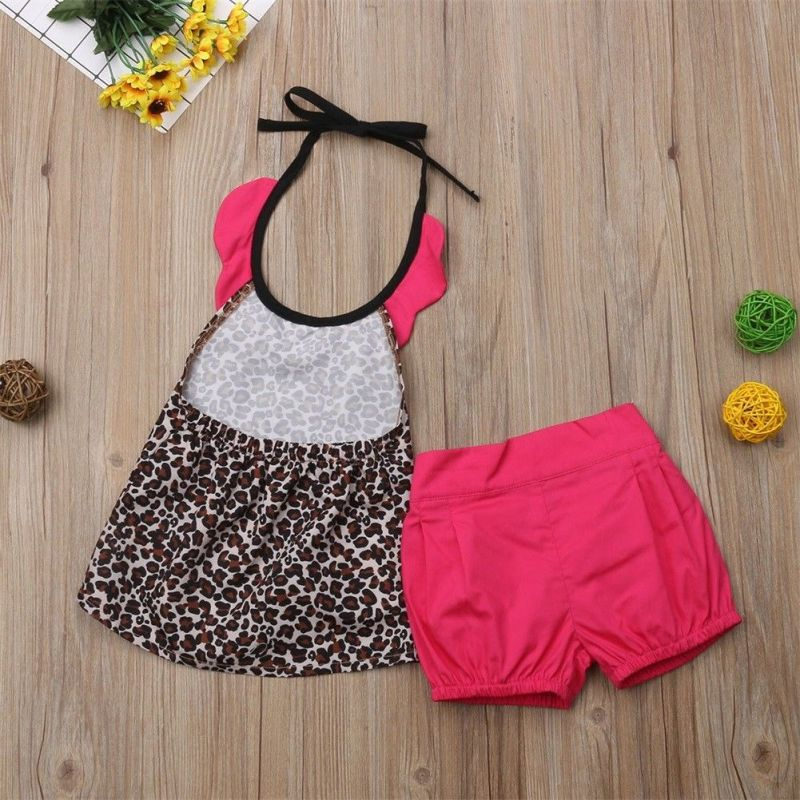 Leopard Print Pink Matching Dress for Siblings