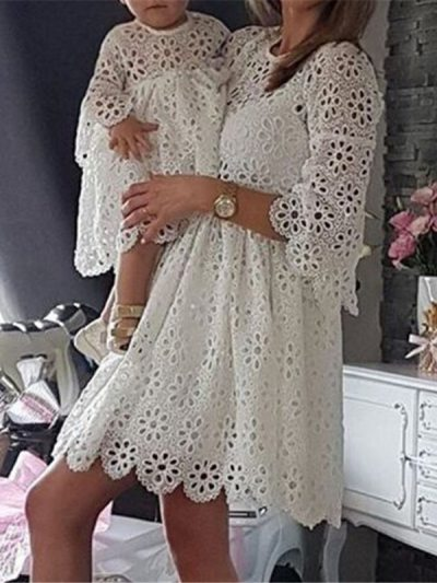 White Lace Matching Dress for Mom n Me