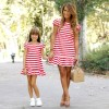 Red n White Striped Matching Short Casual Dress