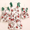 Green Strap Flower Print Family Match Dress