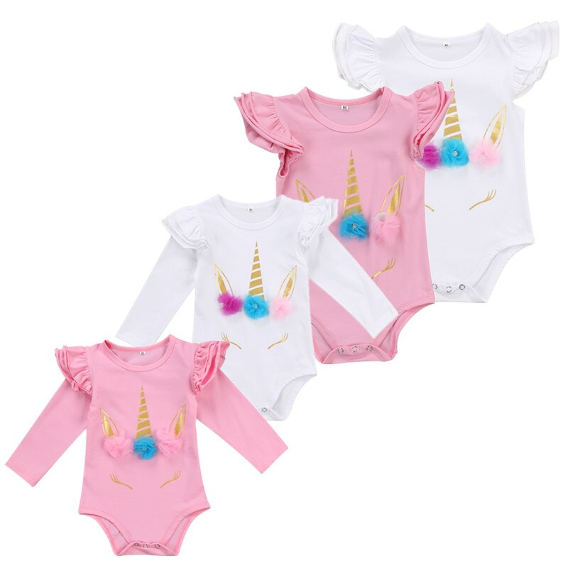 Unicorn Horns with Colorful Ribbons Long Sleeve Ruffles Infant jumpsuits