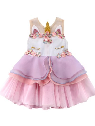 3D Unicorn Style Floral Mesh Baby Girls Party Dress