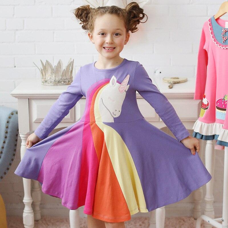 Rainbow Unicorn Long Sleeve Unicorn Patchwork Girls Dress