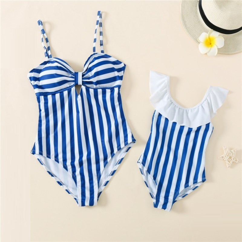 Blue Striped Matching Swimming Suit for Mommy Me
