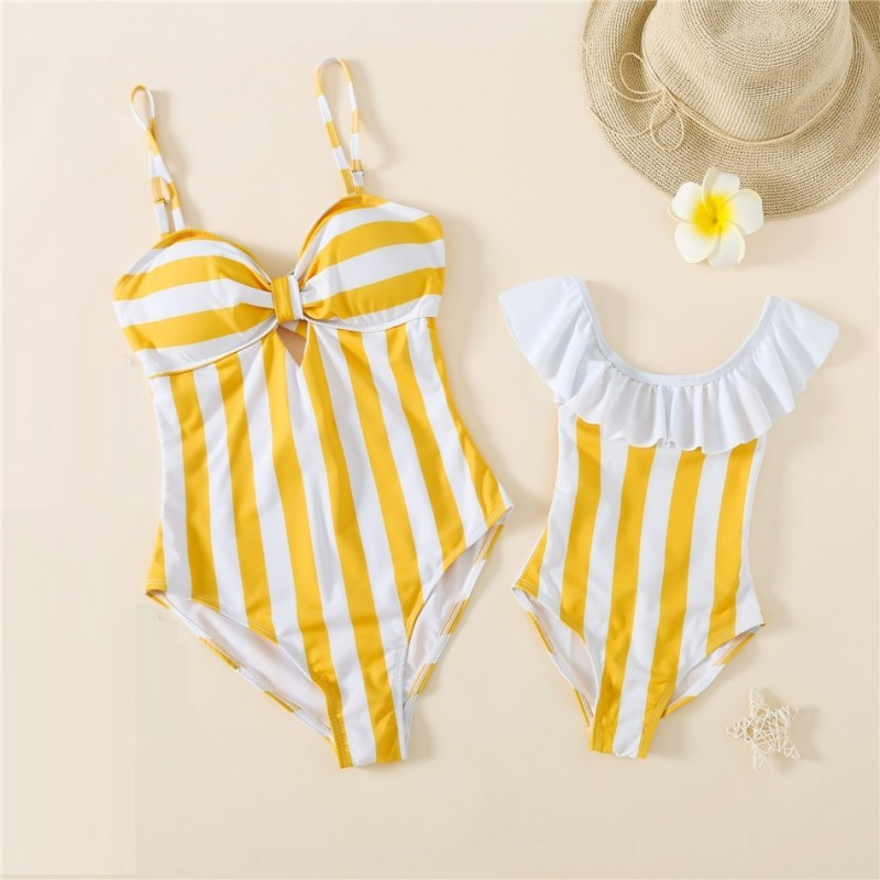 Yellow Striped Matching Swimming Suit for Mommy Me