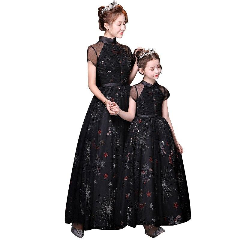 Black Moon Star Print Flower Embroidery Same Look Dress