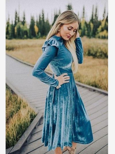 Blue Mom And Me Long Sleeve Velvet Matching Dress