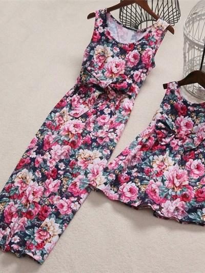 Big Bow Floral Print Mother Daughter Dress
