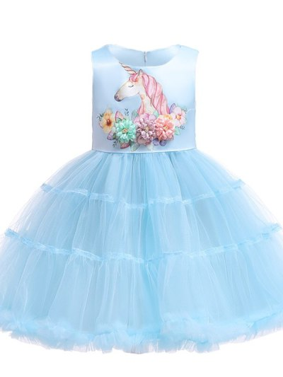 Toddler Girls Pageant Evening Unicorn Party Dresses