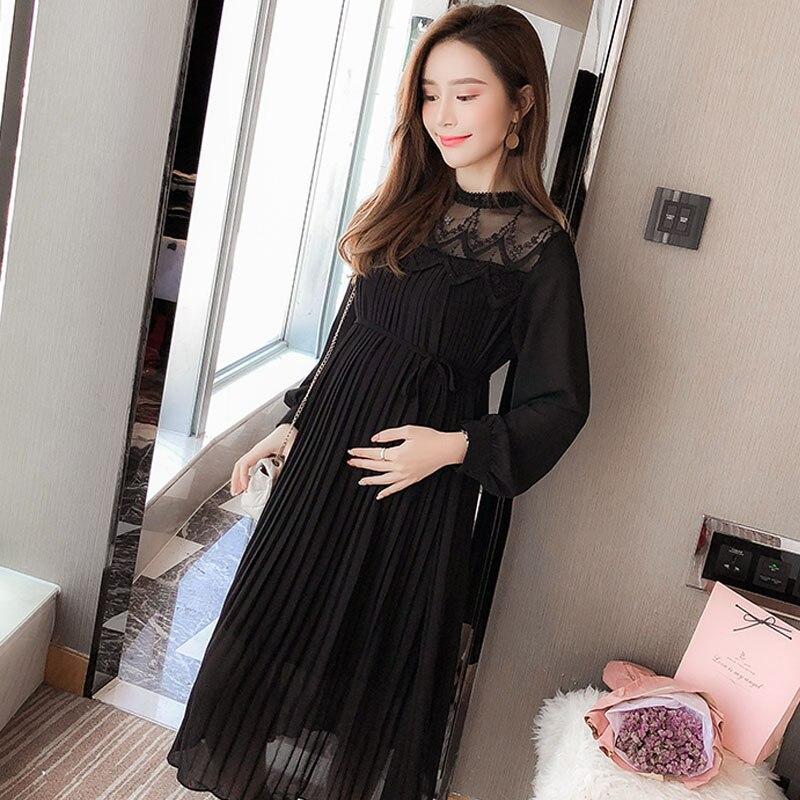 Black Chiffon Pleated Maternity Dress