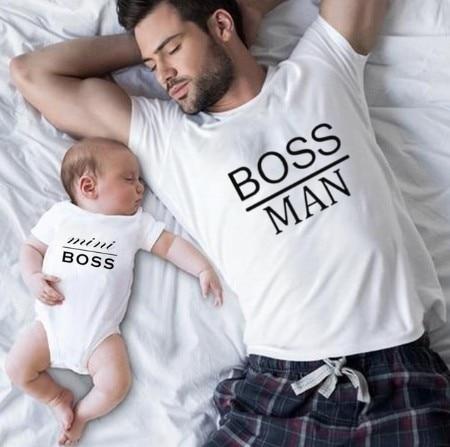 Boss Man Print Father Son Matching T-Shirt Romper