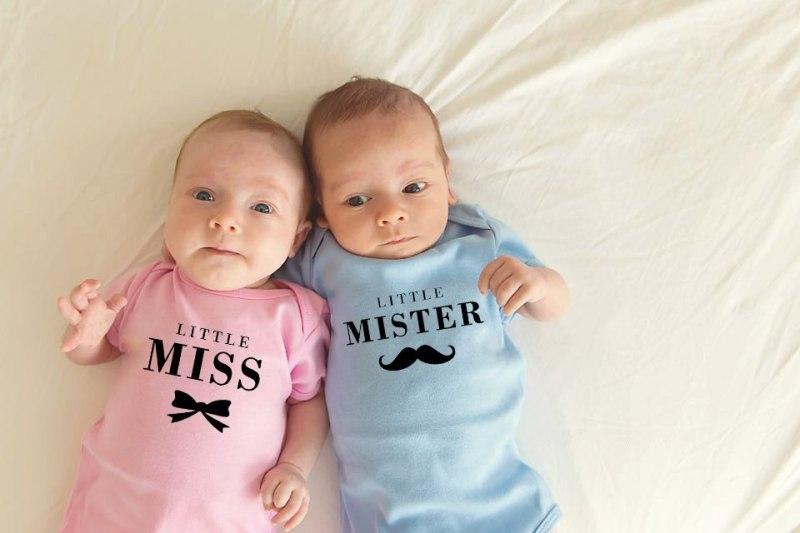 Little Miss and Little Mister Pink Blue Twins Jumpsuit