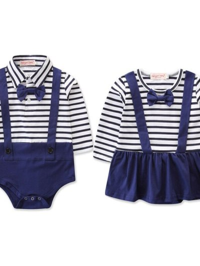 Newborn Baby Girl Boy Navy Style Striped Matching Outfit
