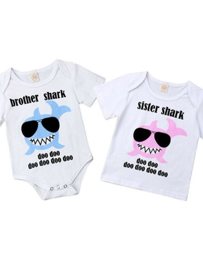 Baby Brother and Sister Shark Matching Rompers