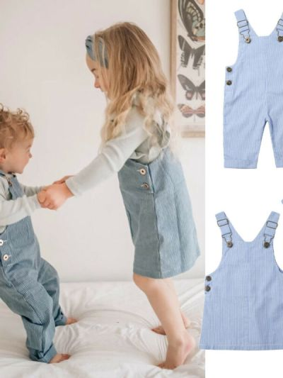 Blue Dress and Matching Bib Pants for Sisters