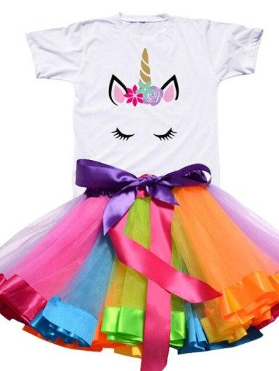Rainbow Tutu Unicorn Party Summer Dress