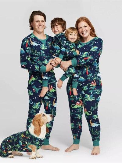 Christmas Dinosaur Printed Family Party Pajamas Set